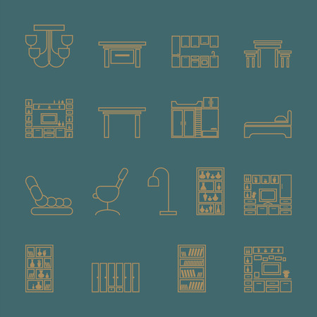 Illustration for Furniture icons set. outline vector illustration on a turquoise background - Royalty Free Image