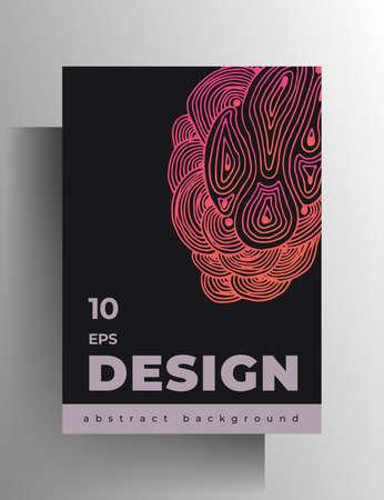 Illustration pour Cover design template for book, magazine, brochure, catalog, booklet, poster. Hand-drawn graphic texture elements. A4 format.  . - image libre de droit