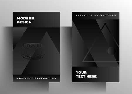Illustration pour Cover for book, brochure, catalog, folder, magazine, poster template set. Geometric monochrome design. - image libre de droit