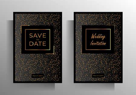 Illustration pour Wedding invitation template set. Austere, elegant design with a gold crumb on a black background. vector 10 EPS. - image libre de droit