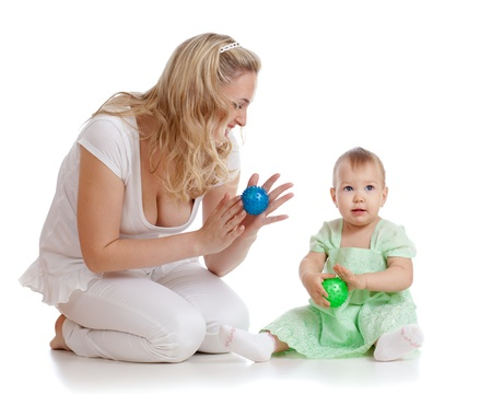 mother and her child massage with rubber devices