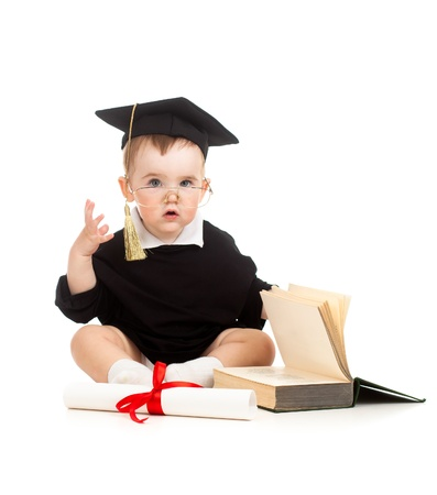 Photo pour Baby in academician clothes  with roll and book - image libre de droit
