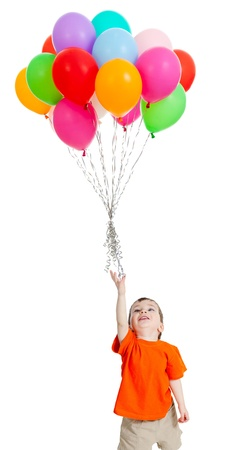 Foto für Smiling baby boy  with bunch of colorful ballons in his hand  Isolated on white  - Lizenzfreies Bild