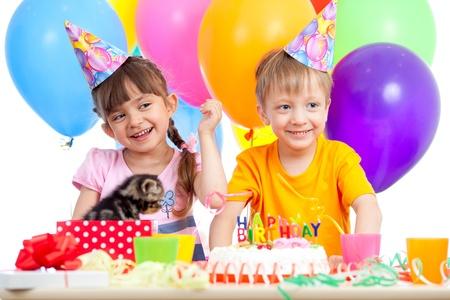 happy kids girl and boy celebrating birthday party