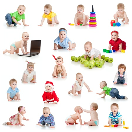 Photo for set of crawling babies or toddlers with toys isolated on white - Royalty Free Image