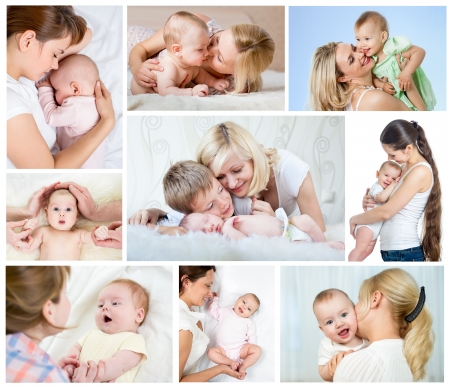 Photo for Collage mother day concept  Loving moms with babies  - Royalty Free Image