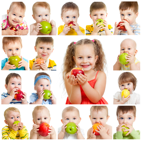 Photo pour collection of babies and kids eating apples, isolated on white - image libre de droit