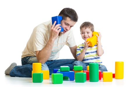 Photo pour father and child son role playing isolated - image libre de droit