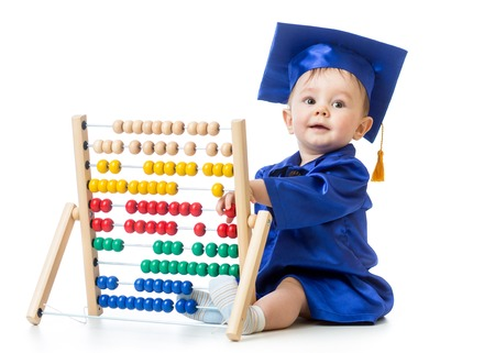 Baby with abacus toy. Concept of early learning child