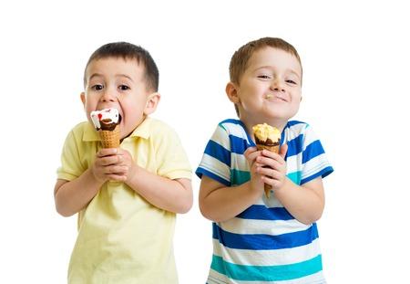 funny children kids little boys eat ice-cream isolated on white