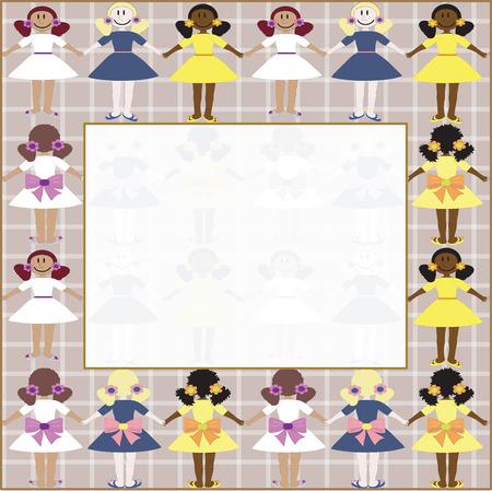Illustration pour Frame with girls - image libre de droit