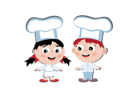 Boy and girl cook