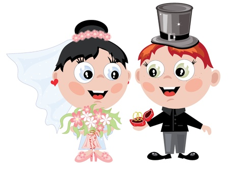 Bride and groom cartoon  isolated over white
