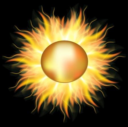 Illustration pour Vector gold sun ,used mesh - image libre de droit