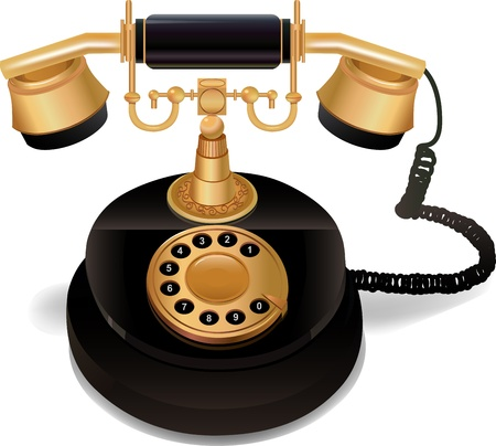 Illustration for Black vintage phone with a gold handle and a dial on a white background. vector 10 - Royalty Free Image