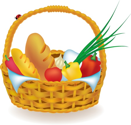 illustration wicker picnic basket with food isolated