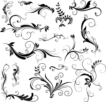 Illustration pour Set of hand drawn floral patterns - image libre de droit