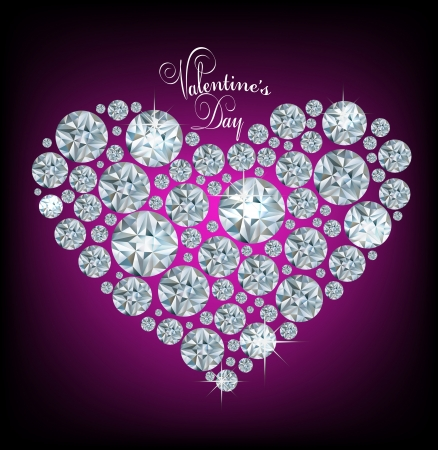 Vector shiny made with diamond heart on purple background