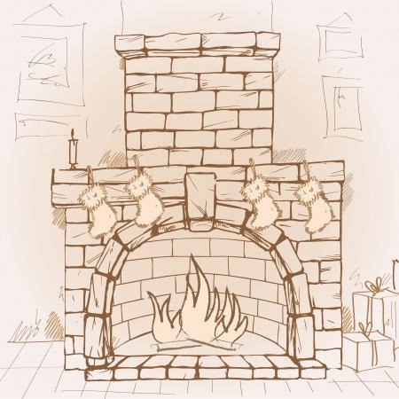 Hand drawn fireplace, vector illustration