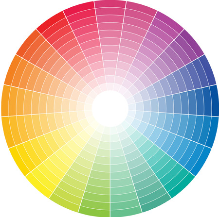 Color wheel with the transition to white in the middle