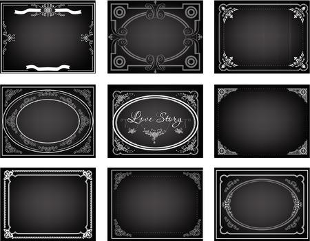 Set of nine old silent movie  title frames