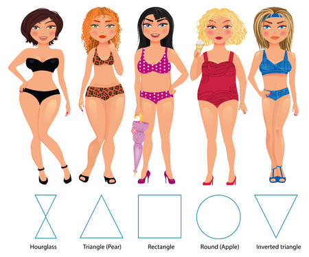 Ilustración de Five types of woman figures: hourglass, triangle, restangle, round and inverted triangle, vector hand drawn illustration - Imagen libre de derechos