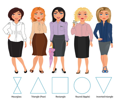 Five types of woman figures in bussiness dresses: hourglass, triangle, restangle, round and inverted triangle, vector hand drawn illustration
