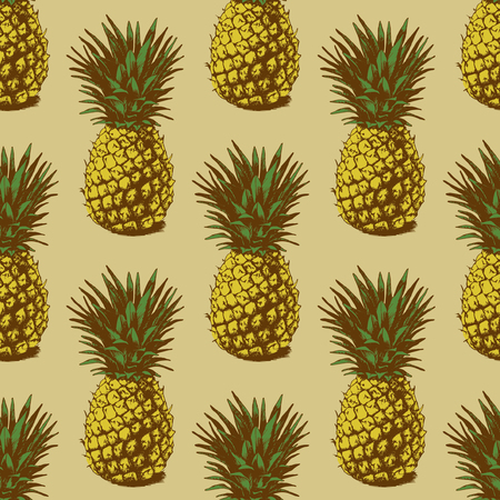 Illustration pour Seamless background with hand drawn pineapples - image libre de droit