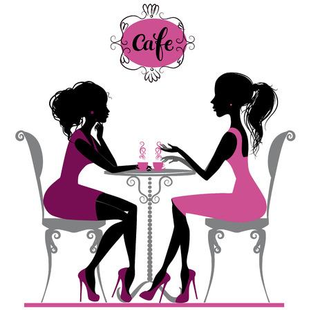 Illustration pour Illustration of two girls talking in cafe - image libre de droit