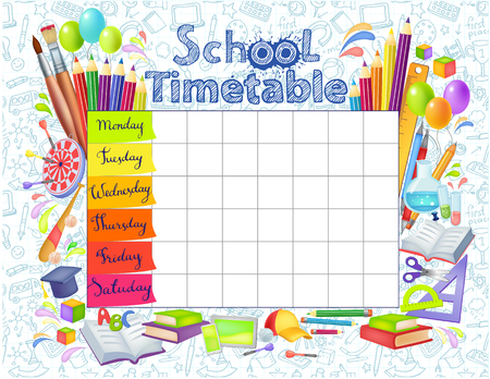 Illustration pour Template school timetable for students or pupils with   days of week and free spaces  for notes. Illustration includes many hand drawn elements of school supplies. - image libre de droit