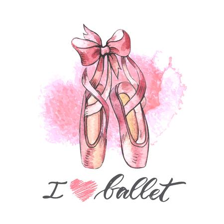 Illustration pour Illustration, hand drawn  pair of well-worn ballet pointes shoes - image libre de droit