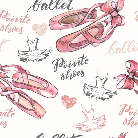 Ilustración de Seamless background with hand drawn  ballet pointes shoes - Imagen libre de derechos