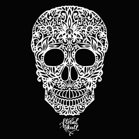 Illustration pour Hand drawn floral hand drawn patterned skull - image libre de droit