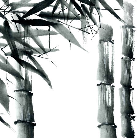 Watercolor and ink illustration in style sumi-e, u-sin. Oriental traditional painting.