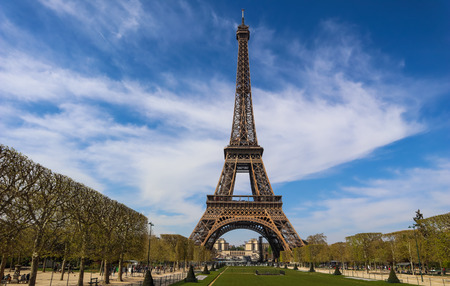 Photo pour Eiffel Tower in Paris France against blue sky with clouds. - image libre de droit