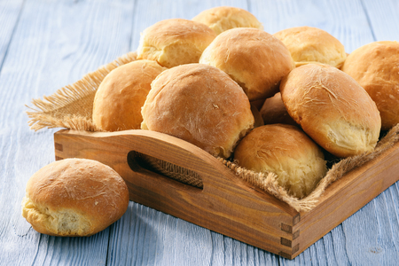 Foto für Homemade potato bread roll on wooden tray. - Lizenzfreies Bild