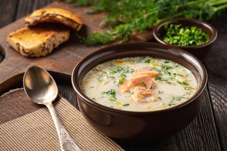 Photo pour Homemade salmon and leek creamy soup. - image libre de droit