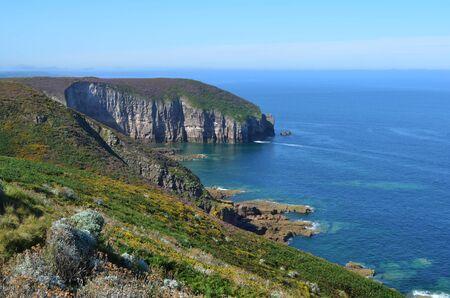 Photo pour Green cliffs overlook coastal ocean - image libre de droit