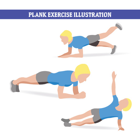 Illustration of woman doing plank exercises in different ways
