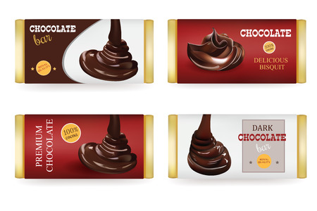 Chocolate bar Design Templates Isolated On White Background. Liquid Puoring Chocolate and Text on the Packaging