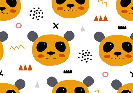 Photo pour Seamless pattern with panda. Animal backround for babies - image libre de droit