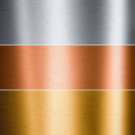 Brushed aluminum copper and gold plates useful for backgrounds