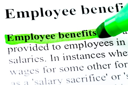 Employee benefits definition highlighted by green marker on white