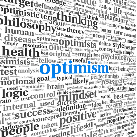 Optimism concept in word tag cloud