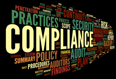 Compliance and audit in word tag cloud on black