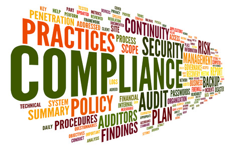 Compliance and audit in word tag cloud on white
