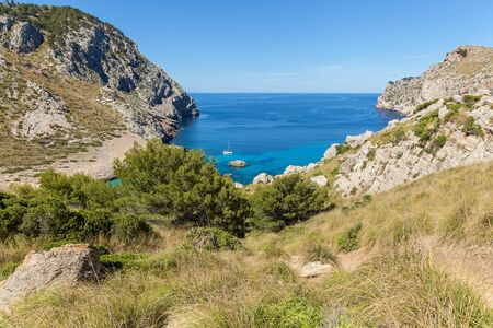 Coll Baix Beach. View from the high of the beautiful cliffed coast of Mallorca, Spain.