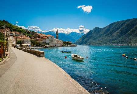 Harbour and boats at Boka Kotor bay (Boka Kotorska), Montenegro, Europe.