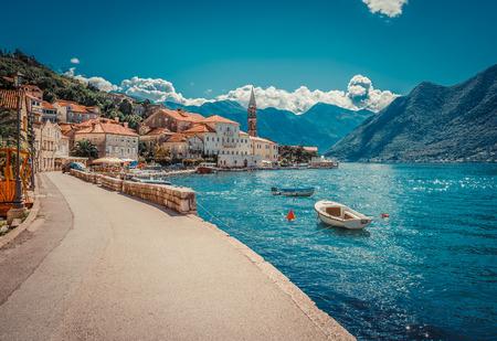 Photo pour Harbour and boats at Boka Kotor bay (Boka Kotorska), Montenegro, Europe. - image libre de droit