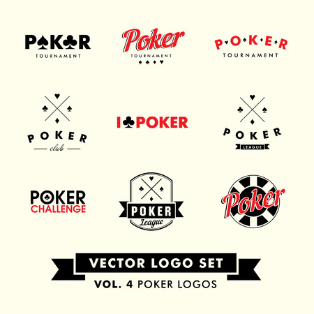 Retro Vintage Hipster Poker Vector Logo Set with chips.